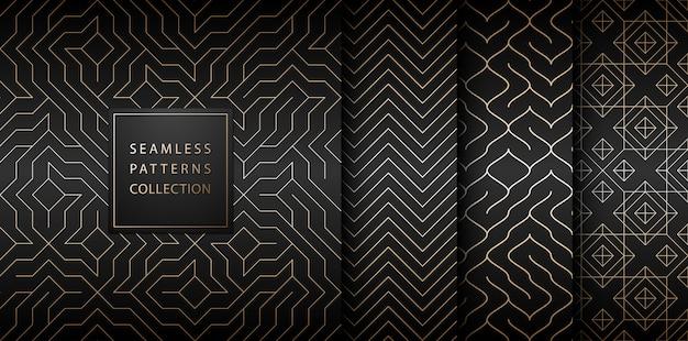 Collectie van naadloze geometrische gouden minimalistische patronen.