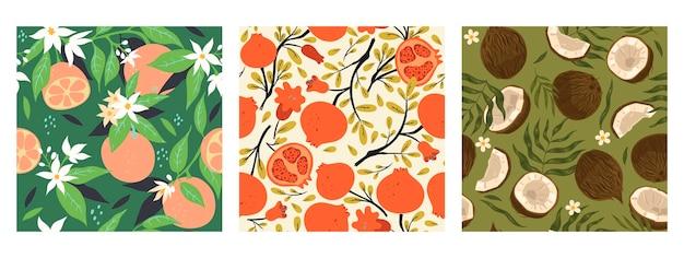 Collectie van naadloze patronen met fruit. vectorafbeeldingen.