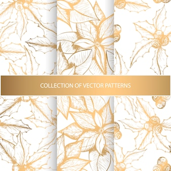 Collectie van naadloze patronen met gouden bloemenelementen