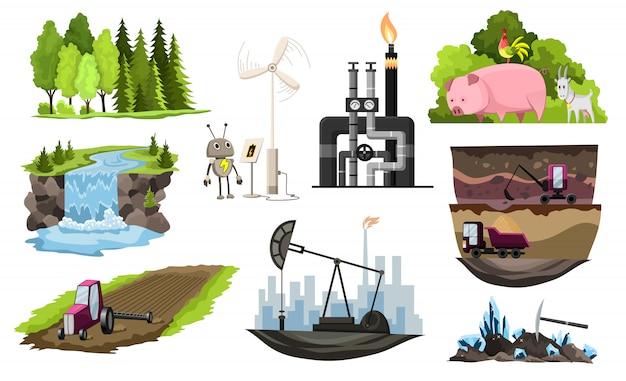 Collectie van natuurlijke hulpbronnen ontwerp.