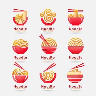 Collectie van noodle-logo Premium Vector