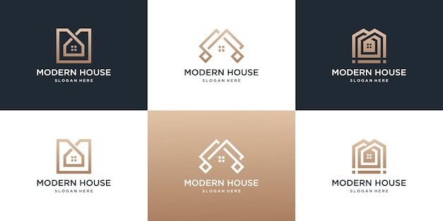 Collectie van onroerend goed huis logo sjabloon.