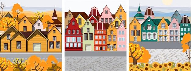 Collectie van oude retro stad met kleurrijke gebouwen