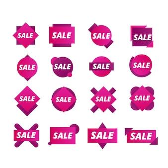 Collectie van paarse verkooplabel