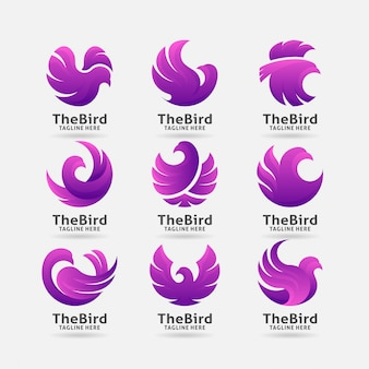 Collectie van paarse vogel logo