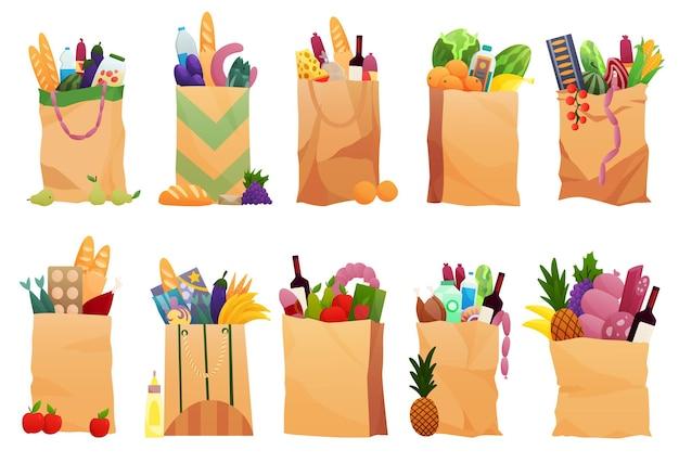 Collectie van papieren boodschappentassen producten kruidenier. groenten, brood, zuivelproducten, wijnstokken, vlees en eieren. kruidenier supermarkt. verse gezonde producten. boodschappen bezorgconcept.