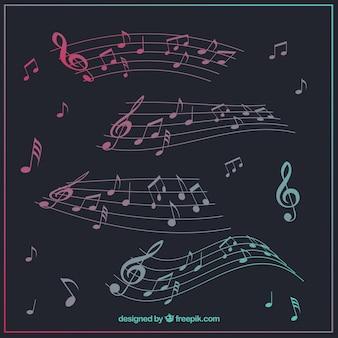 Collectie van pentagram met muzieknoten