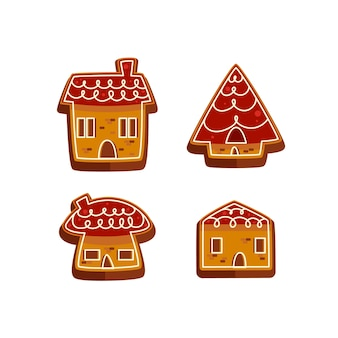 Collectie van peperkoek huis in plat design
