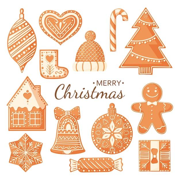 Collectie van peperkoek kerstkoekjes geïsoleerd op een witte achtergrond