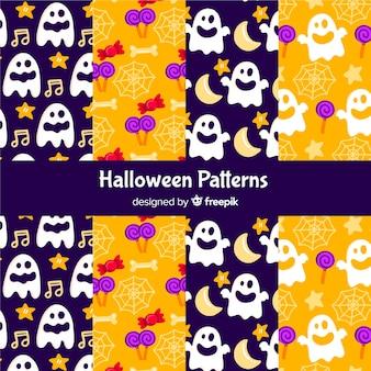 Collectie van platte halloween patroon