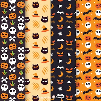 Collectie van platte halloween patroon