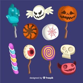 Collectie van platte halloween snoepjes
