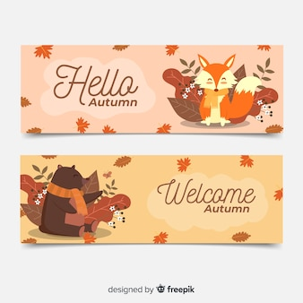 Collectie van platte herfst banners