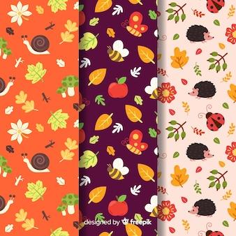 Collectie van platte herfst patronen