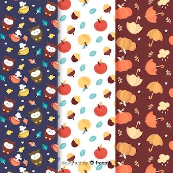Collectie van platte herfst patroon