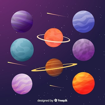 Collectie van platte kleurrijke planeten