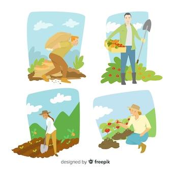 Collectie van platte ontwerp landbouwarbeiders