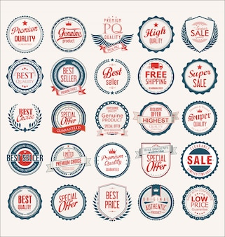 Collectie van platte schilden badges en etiketten retro-stijl