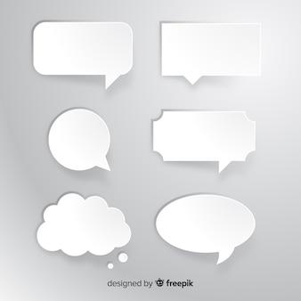 Collectie van platte tekstballon in papierstijl