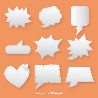 Collectie van platte tekstballonnen in papierstijl