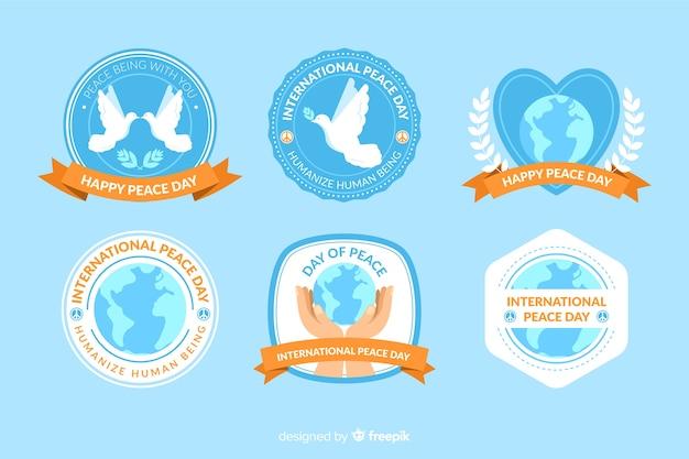 Collectie van platte vredesdag labels