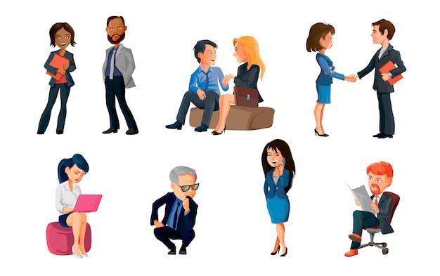 Collectie van poses volkeren op kantoor. bundel van mannen en vrouwen die deelnemen aan zakelijke bijeenkomsten, onderhandelen, brainstormen, met elkaar praten. kleurrijke illustratie in platte cartoon stijl