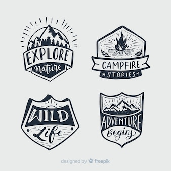 Collectie van reizen belettering badges