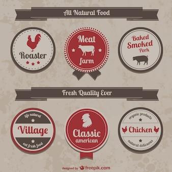 Collectie van retro boerderij voedseletiketten en pictogrammen