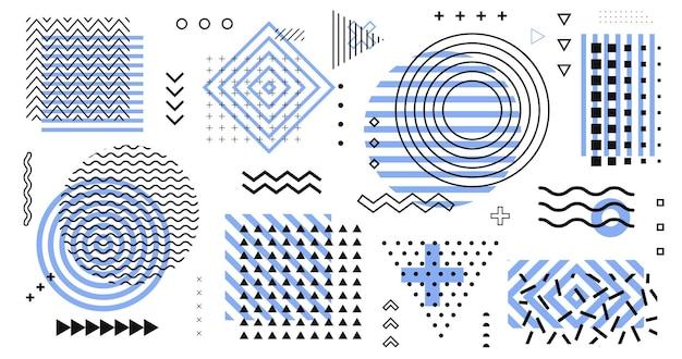 Collectie van retro-elementen. trendy geometrische vormen patroon vector design. memphis-ontwerp voor poster, spandoek, advertentie, plakkaat, print, textiel, web.