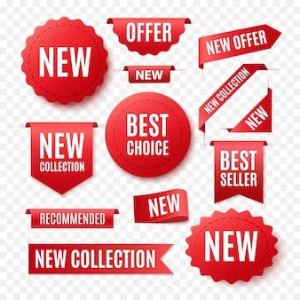 Collectie van rode promo labels geã¯soleerd op wit