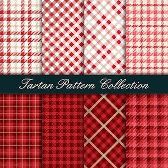 Collectie van rode tartan naadloze patroon