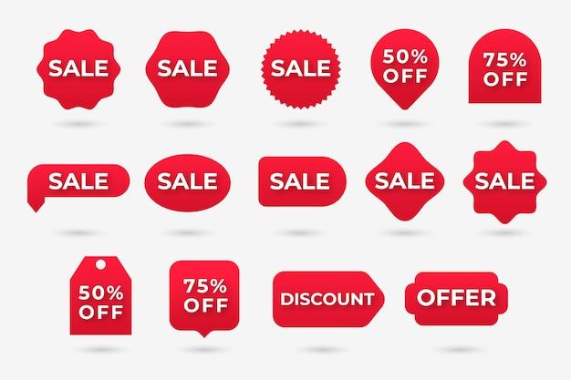 Collectie van rode verkooplabel