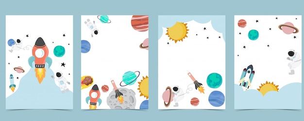 Collectie van ruimte achtergrond instellen met astronaut, zon, maan, ster, raket.