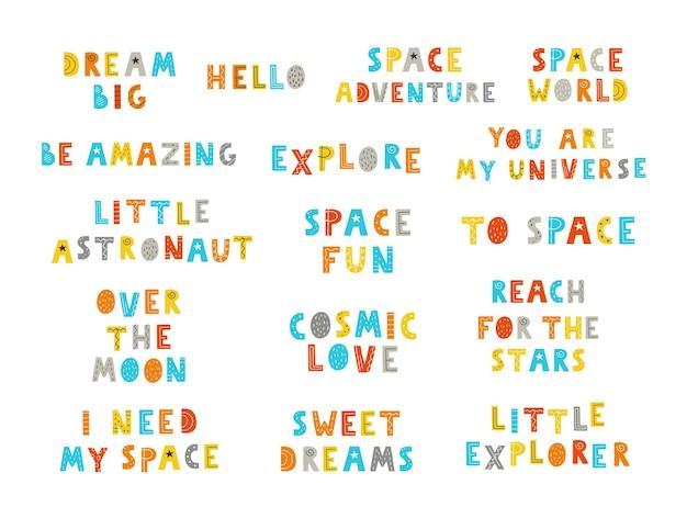 Collectie van ruimte kleur hand getekende letters. vector illustratie.