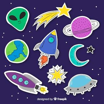 Collectie van ruimtestickers in plat ontwerp