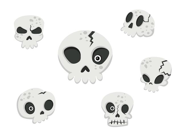 Collectie van schedels. concept cartoon schedel in verschillende. halloween-elementen instellen. vector clipart illustratie geïsoleerd op een witte achtergrond