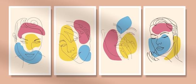 Collectie van schoonheid vrouw gezicht minimale handgetekende lijntekeningen boho halverwege de eeuw