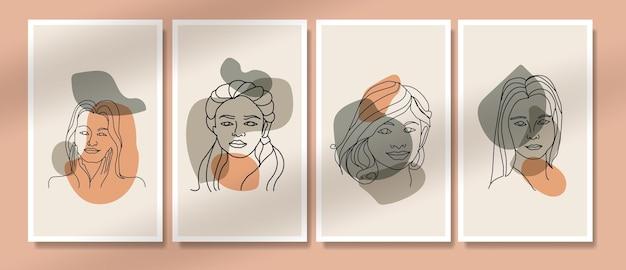 Collectie van schoonheid vrouw gezicht minimale handgetekende lijntekeningen