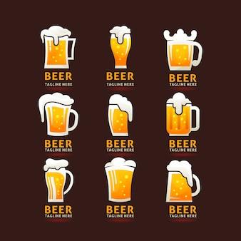 Collectie van schuimige bier mok logo