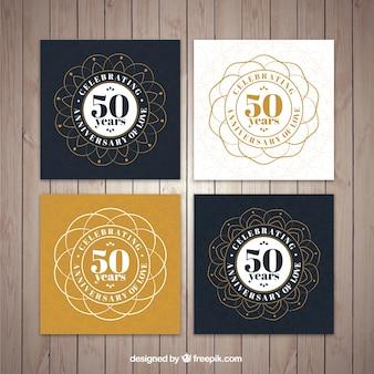 Collectie van sier gouden bruiloft kaart
