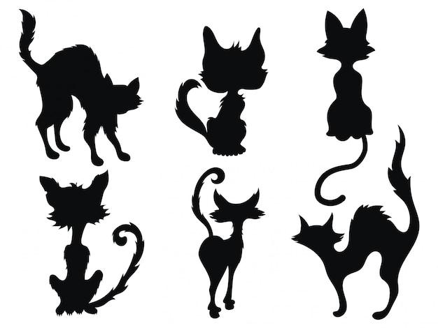 Collectie van silhouetten van huisdieren.