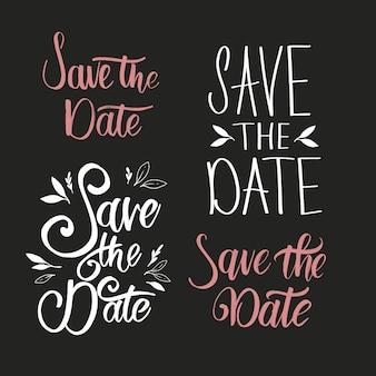 Collectie van sparen de datum bruiloft belettering