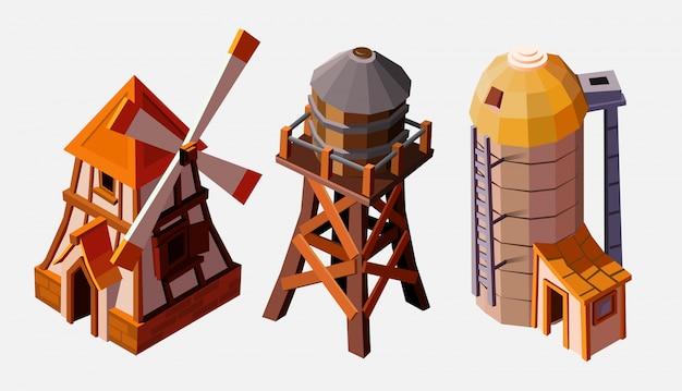 Collectie van speciale boerderijgebouwen. watertoren, lift en windmolen. collectie gebouwen geïsoleerd op wit voor gebouwen. architectonische buitenkant voor cartoon 3d-stad, game graphics