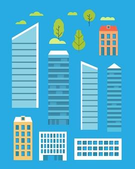 Collectie van stedelijke huizen vooraanzicht.