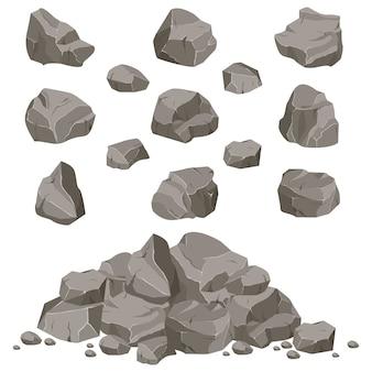 Collectie van stenen van verschillende vormen. rotsen en puin van de berg. een enorm blok stenen. stenen scherf