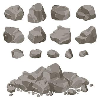 Collectie van stenen van verschillende vormen. stenen en rotsen in isometrische 3d-vlakke stijl.