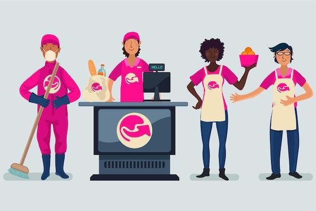 Collectie van supermarktmedewerkers