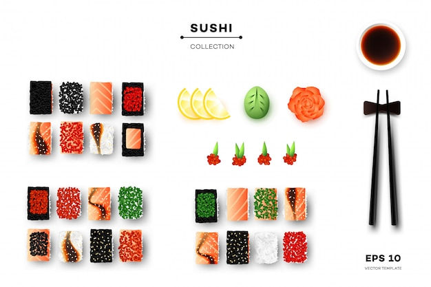 Collectie van sushi rolls.