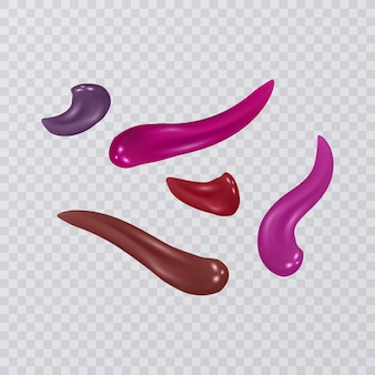 Collectie van uitstrijkjes lippenstift, geïsoleerd