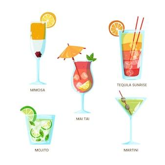 Collectie van verfrissende handgetekende cocktails
